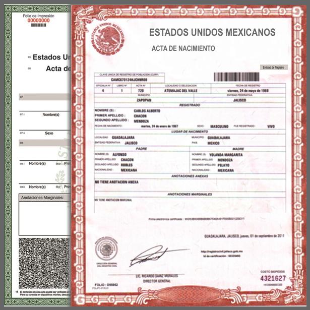 Actas De Nacimiento De Estado De México Edomex Naucalpan